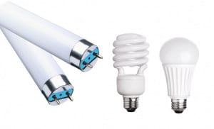 Bild på glödlampor och lysrör
