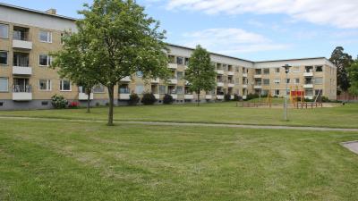 Bild tagen på håll med ett gult lägenhetshus i tre våningar i bakgrunden och gräsmatta och lekplats i förgrunden.