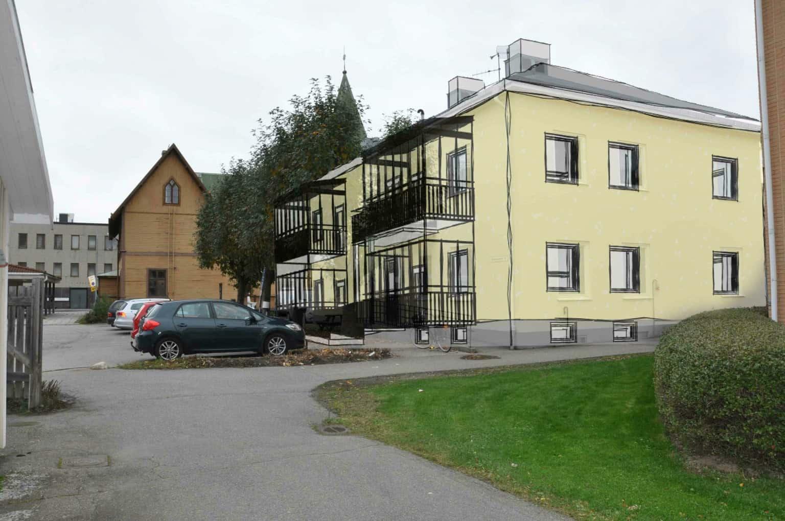 Illustrationsbild på bostadshus