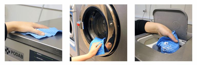Illustrationsbilder som visar att man ska torka rent tvättmaskinen i den gemensamma tvättstugan.