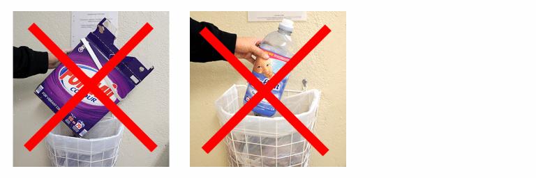 Illustrationsbilder som visar att man inte ska slänga tvättmedelsförpackningar i sopkorgen i tvättstugan