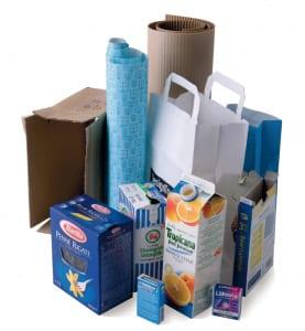 Diverse pappersförpackningar (papperspåse, tetraförpackning, pastakartong mm)