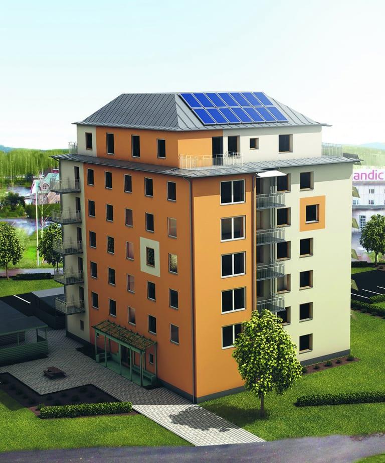 Illustration av ett lägenhetshus på sju våningar.