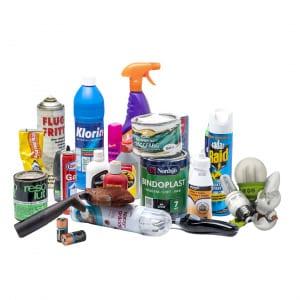 Bild på miljöfarligt avfall (glödlampor, batterier, sprayflaskor, aceton, målarburkar mm)