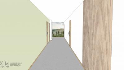 Illustrationsbild på ett trapphus med gröna väggar och en fondtapet av en bild på en skog