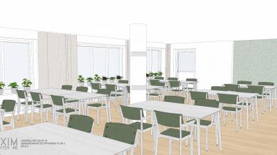Illustrationsbild ifrån ett samlingsrum med grupper av stolar och bord