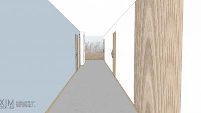 Illustrationsbild av en trapphuskorridor med blåa väggar och en fondvägg som illustrerar hav och vass