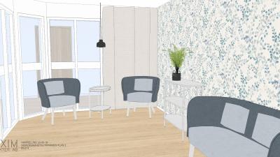 Illustrationsbild på ett rum med en soffa och två fåtöljer