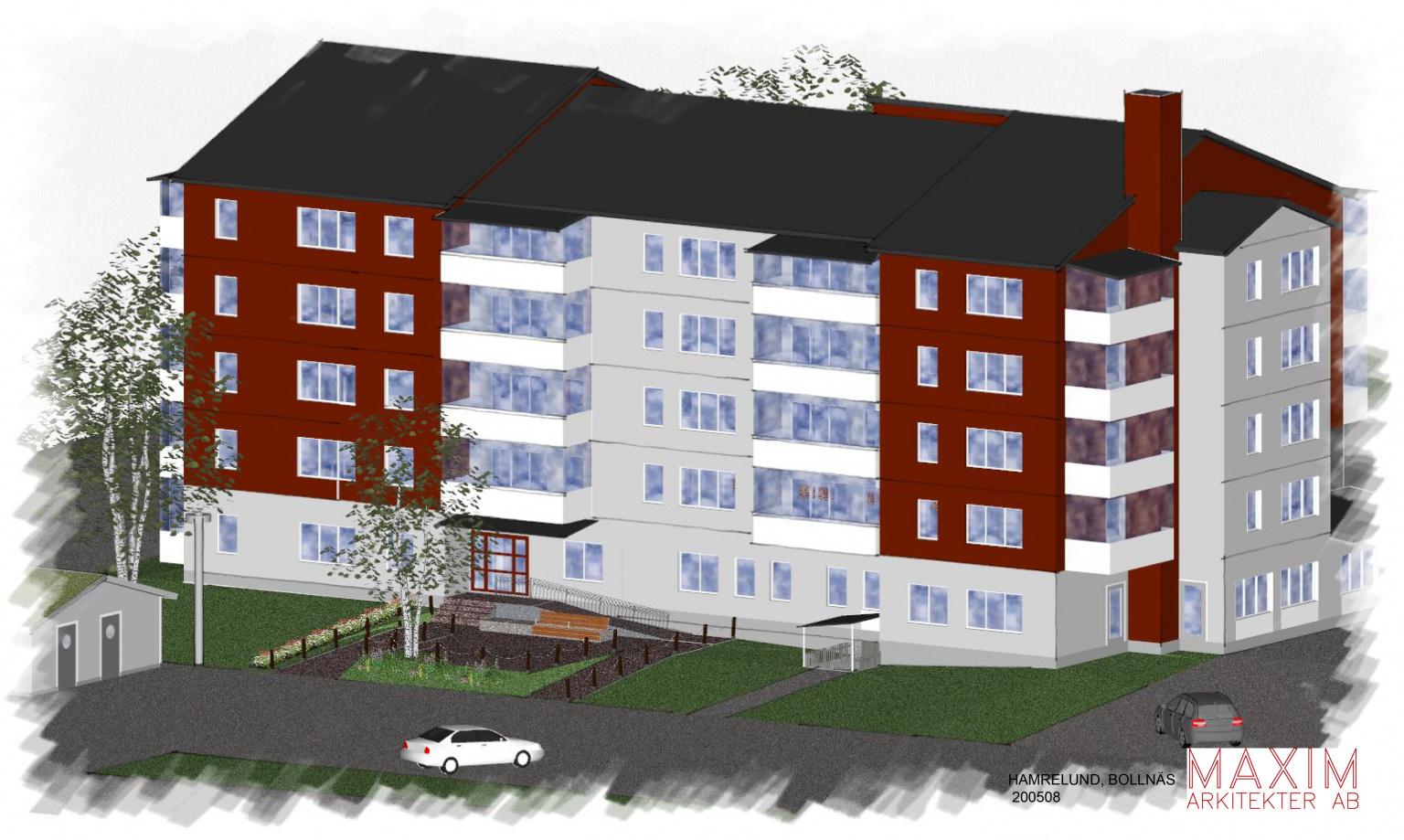 Illustrationsbild på ett Trygghetsboende i sex våningar. Huset är Rött och vitt.