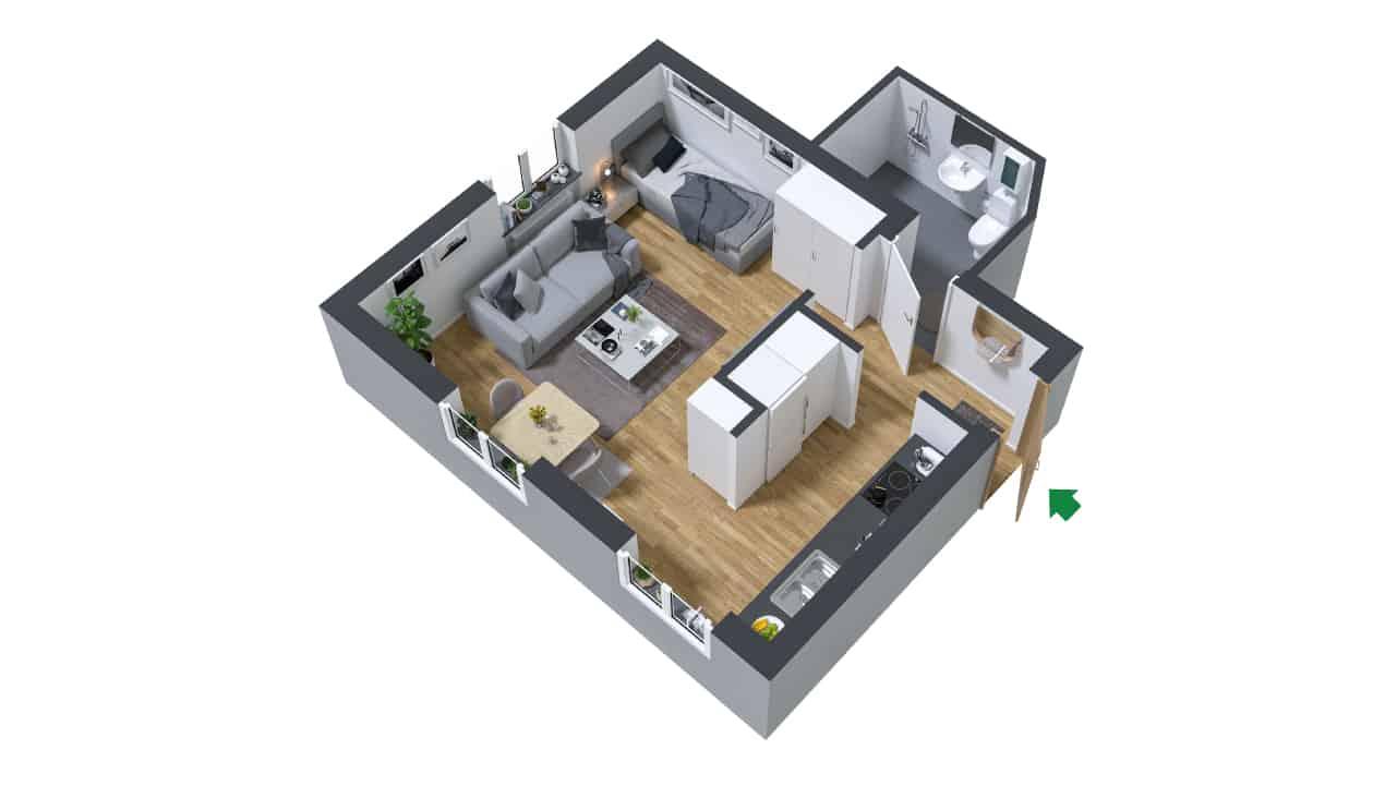 3D ritning av en möblerad ett rum och kök på Kilbygatan 6